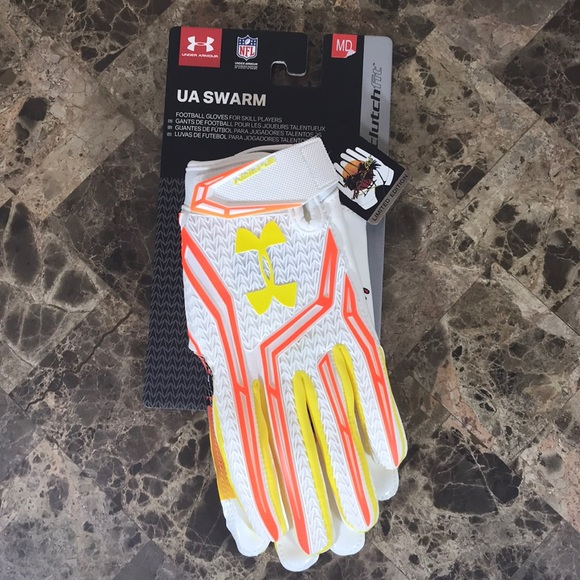 Men/'s UA Under Armour Swarm The sunshine state Football Gloves LARGE 1280473-101